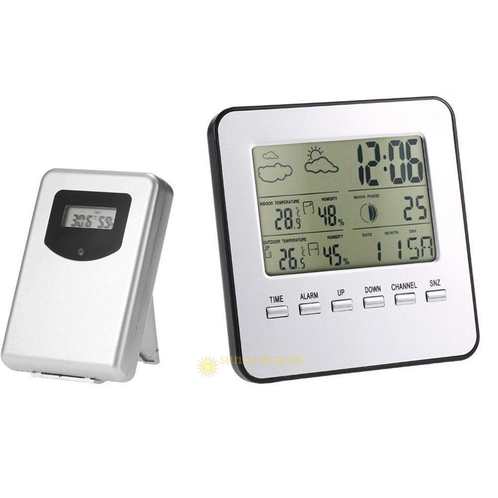 FidgetFidget Wireless Digital LCD Weather Station Alarm Clock Outdoor Indoor Thermometer New