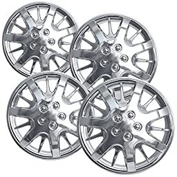OxGord HC-3232-16CH 16 inch Chrome Hubcaps Set of 4