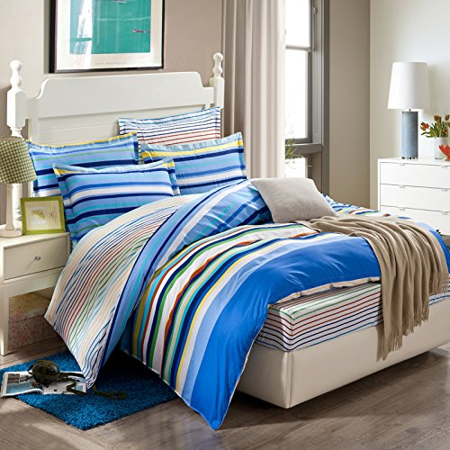 Colorful Stripes Blue 100% Cotton 4 Pieces Bedding Set Duvet Cover Pillow Shams Fitted Sheet, Twin Size