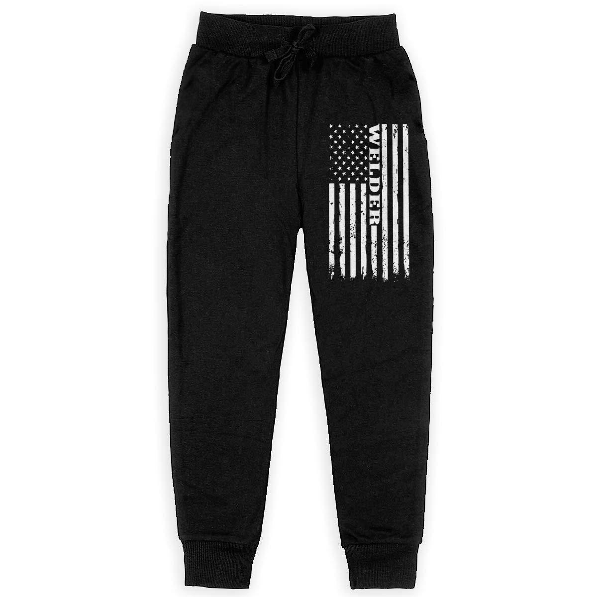 MAOYI/&J6 American Welder Proud Welding Long Sweatpants Teens Boys Girls Jogger Pants with Pockets