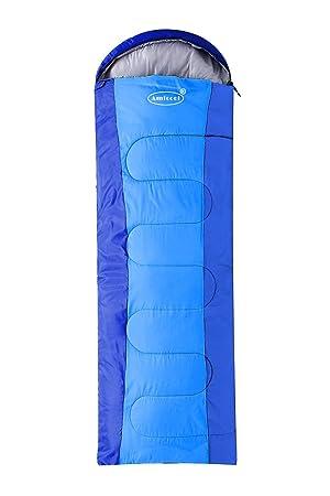 Amila - Saco de dormir cómodo, ligero y transportable, fácil de comprimir, con bolsa de compresión, azul: Amazon.es: Deportes y aire libre
