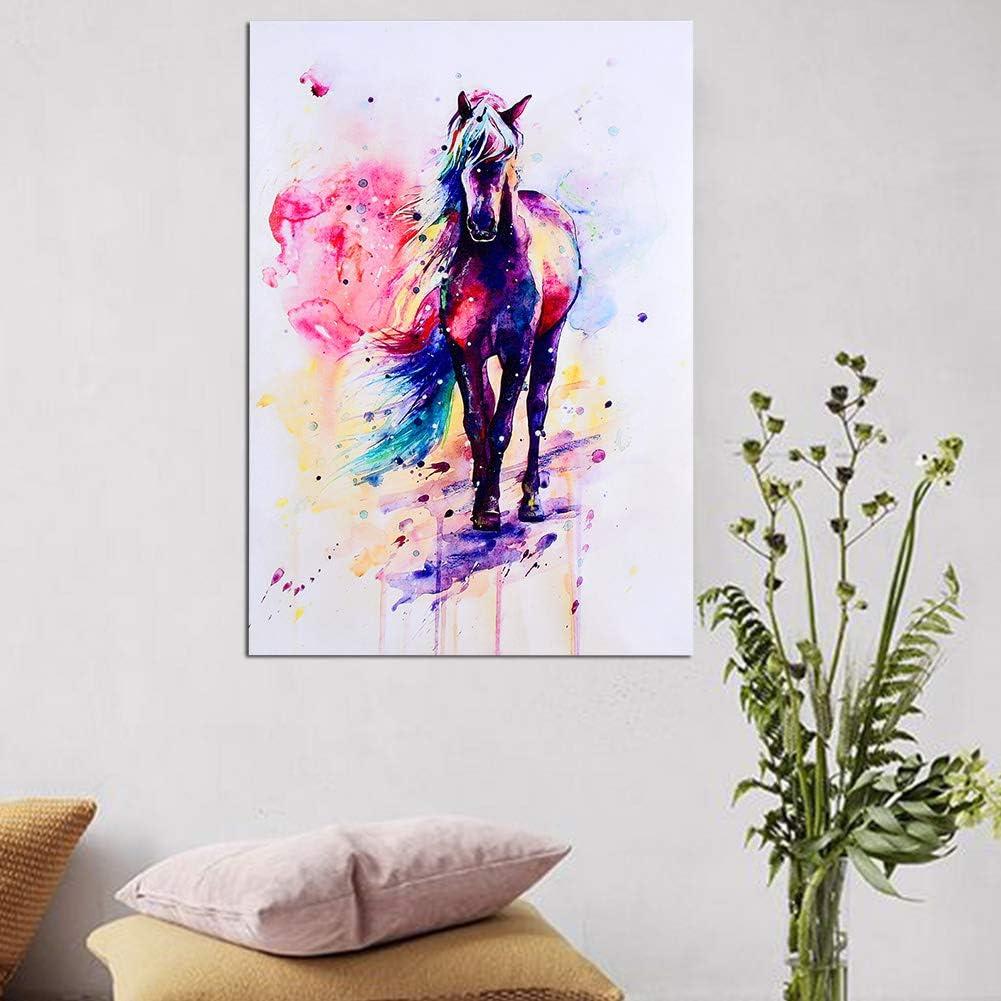 TOPINCN Impresiones de Lienzo Arte de la Pared Acuarela Caballo Arte Animal Pintura al óleo Lienzo sobre Lienzo Decoración del hogar Sala de Estar (50 * 71cm)