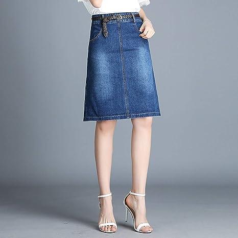 c96095face Plus Size Denim Skirt Casual High Waist Short Jeans Skirt Saias Pencil  Skirts at Amazon Women s Clothing store