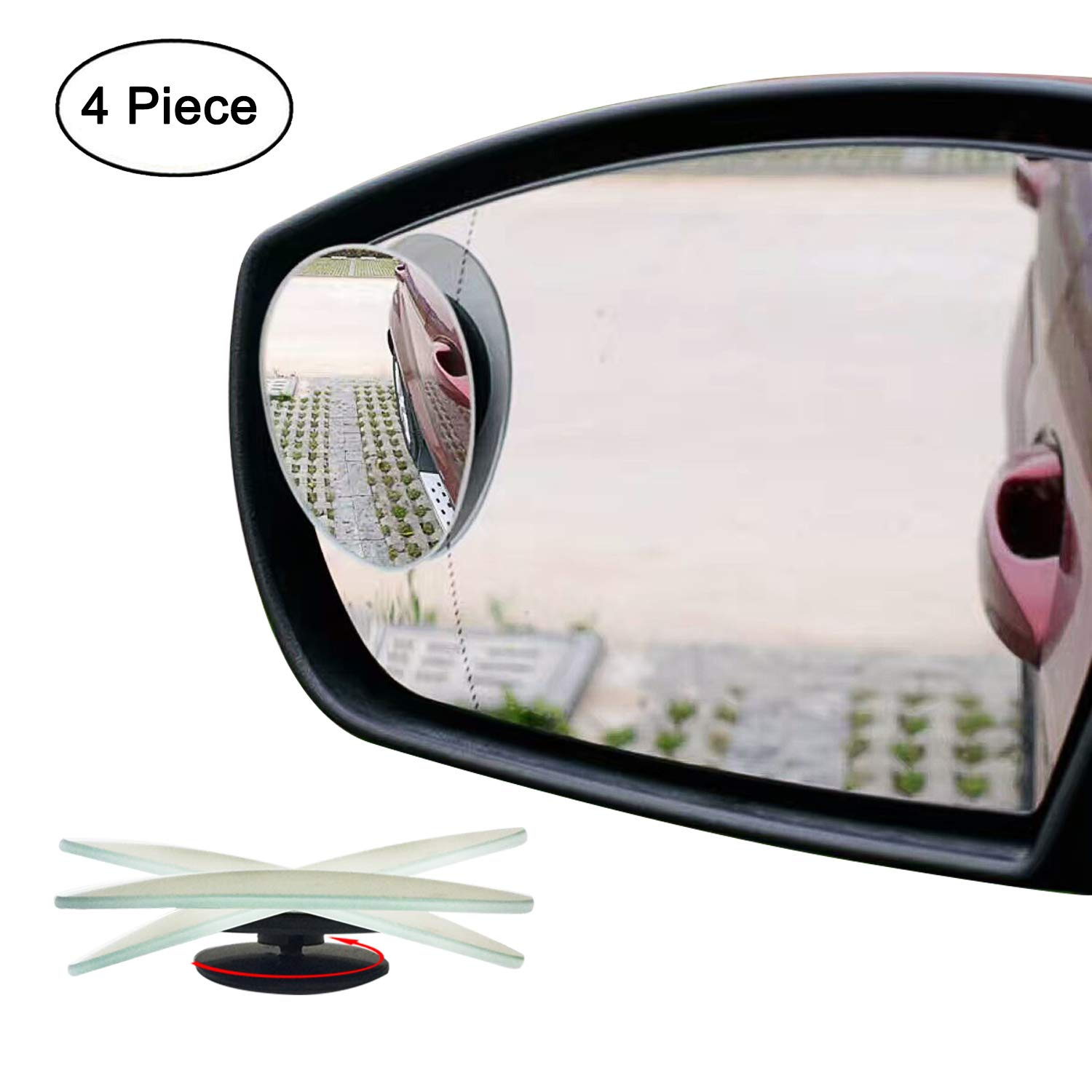 Ampper Upgrade 2' Blind Spot Mirrors, 360 Degree Rotate Sway Adjustabe HD Glass Convex Wide Angle Rear View Car SUV Universal Fit Stick-On Lens (Pack of 4) Am-BSM01