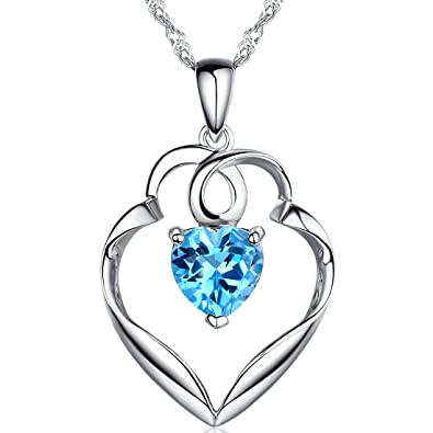 Fine Jewelry Womens Blue Topaz Sterling Silver Pendant Necklace yUbWz