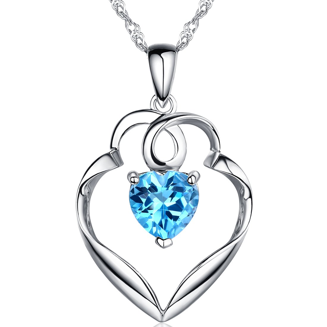 """♥Gifts for Her♥ Natural Swiss Blue Topaz Genuine Gemstone Pendant Necklace """"Guardian Heart"""" Sterling Silver Fine Jewelry Gift for Women for Her"""
