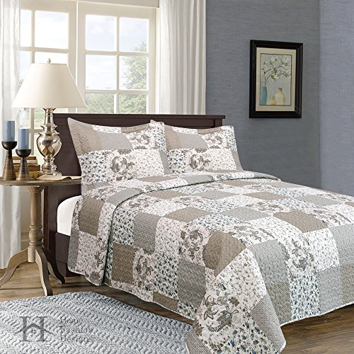 Longmeadow Collection 3-Piece Luxury Quilt Set with Shams. S