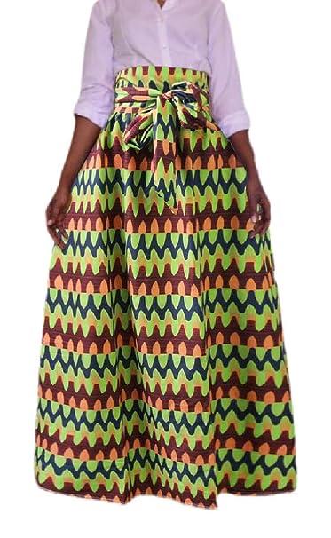 dahuo - Maxi Falda de Cintura Alta para Mujer, diseño Floral ...