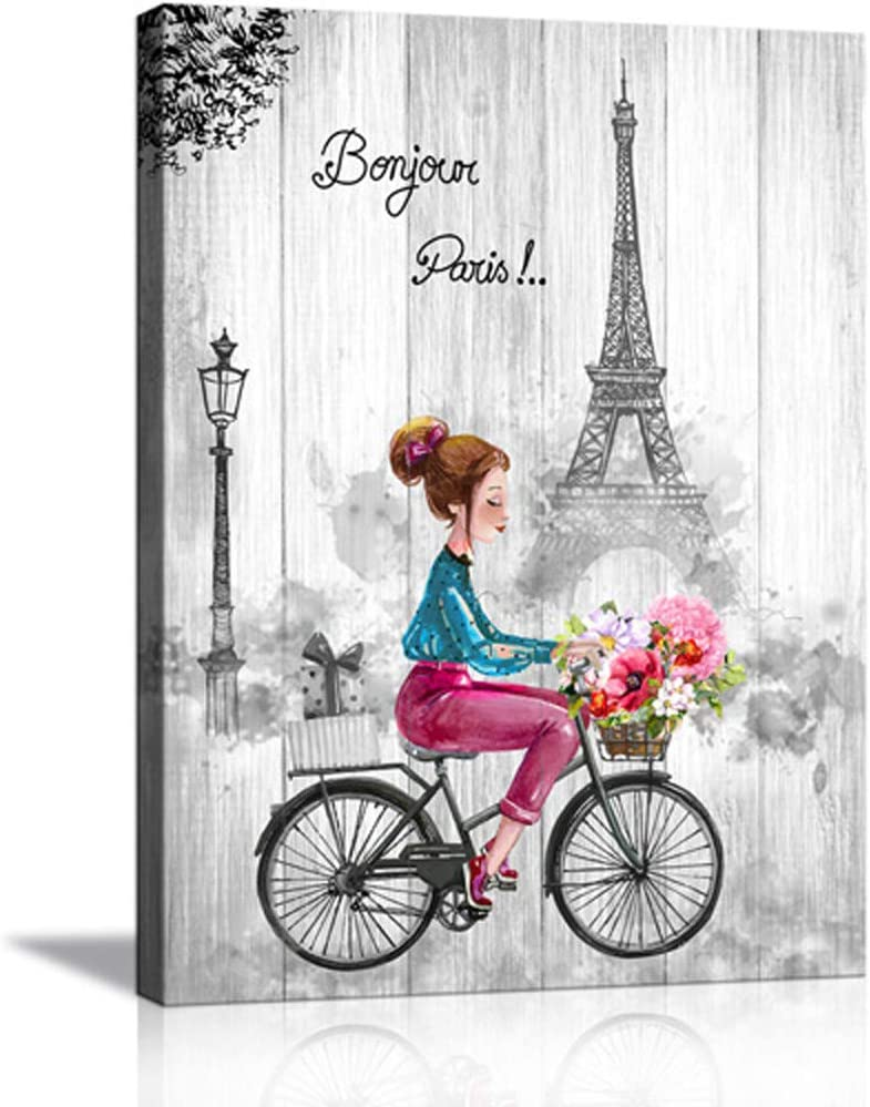 Amazon Com Paris Canvas Wall Art Black And White For Bedroom Bathroom Pink Gray Theme Teen Girl Room Decor Eiffel Tower Rustic Painting Riding Bike With Flowers