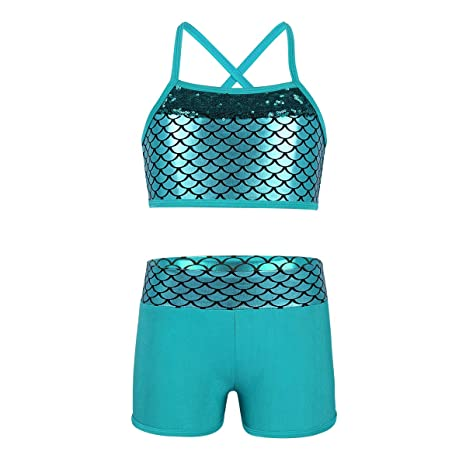 afa4d529a3 iEFiEL Kids Girls  Sequins Mermaid Scales Sports Workout Dance Gymnastics  Two-Pieces Outfit Top