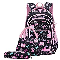 Fanci 3Pcs Bowknot Cat Prints Elementary Girls School Bookbag Rucksack for Primary Girls School Backpack Set with Lunch Kits