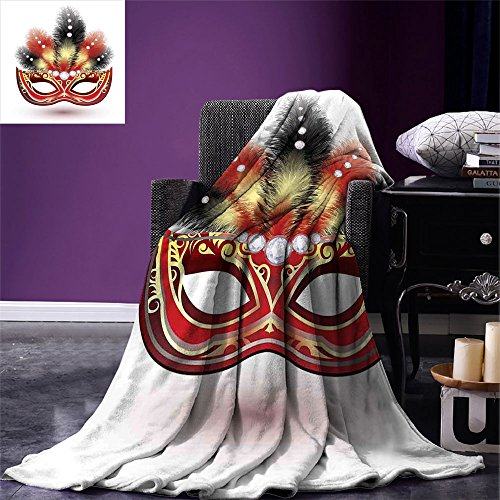 smallbeefly Masquerade Custom printed Throw Blanket Party Mask with Feathers and Diamond Figures Traditional Festive Design Velvet Plush Throw Blanket Black Red (Black Velvet Feather Mask)