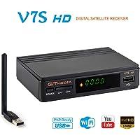 GT MEDIA V7S HD DVB-S2 Digital Receptor de TV por satélite Decodificador Freesat V7 HD Mejora con USB WiFi Antena FTA 1080P Full HD Soporte PVR, Cccam, Newcam, Youtube, PowerVu, Dre y Biss Clave
