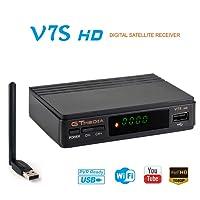 GTMEDIA V7S HD DVB-S2 Digital Receptor de TV por satélite Decodificador Freesat V7 HD Mejora con USB WiFi Antena FTA 1080P Full HD Soporte PVR, Cccam, Newcam, YouTube, PowerVu, DRE y Biss clave