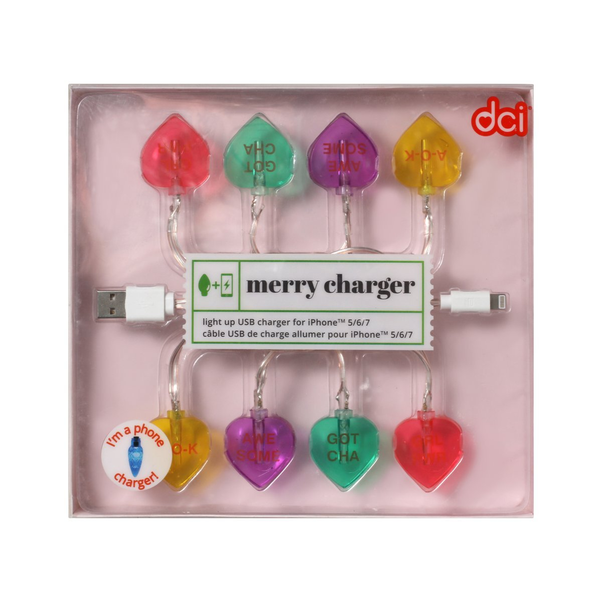 46 inch Glow in the Dark Compatible with iPhone 5 6 7 models USB and Charging Cable DCI Unicorn LED Lights