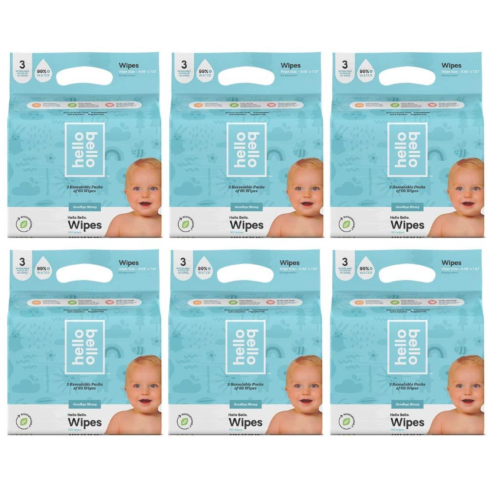 Hello Bello Baby Wipes 3-PK (180ct) (6 ct)