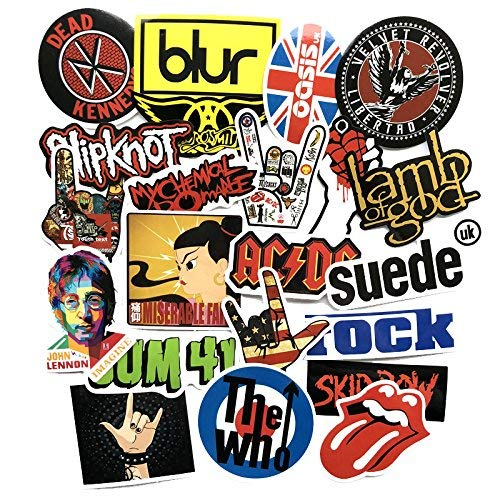jaglo 50pcs Rock Music U2 Tongue Linkin Park KISS MUSE Dead Kennedys The Who Jazz Radio Blur AC DC Iron Maiden John lennon The Who Green Day Car Sticker Laptop Skateboard Guitar Decals