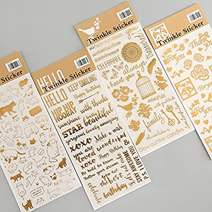 Pegatinas de material escolar, 4 unidades, pegatinas de papel pintado, diseño vintage dorado, decoración para diario, marco de teléfono, bonito gato, material escolar, A6903: Amazon.es: Oficina y papelería