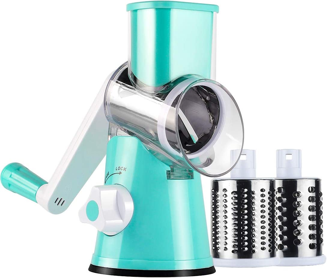 Ancevsk Manual Rotary Cheese Grater - Round Vegetable Slicer with 3 Interchangeable Blades for veggie, Nuts, Fruit (Blue)