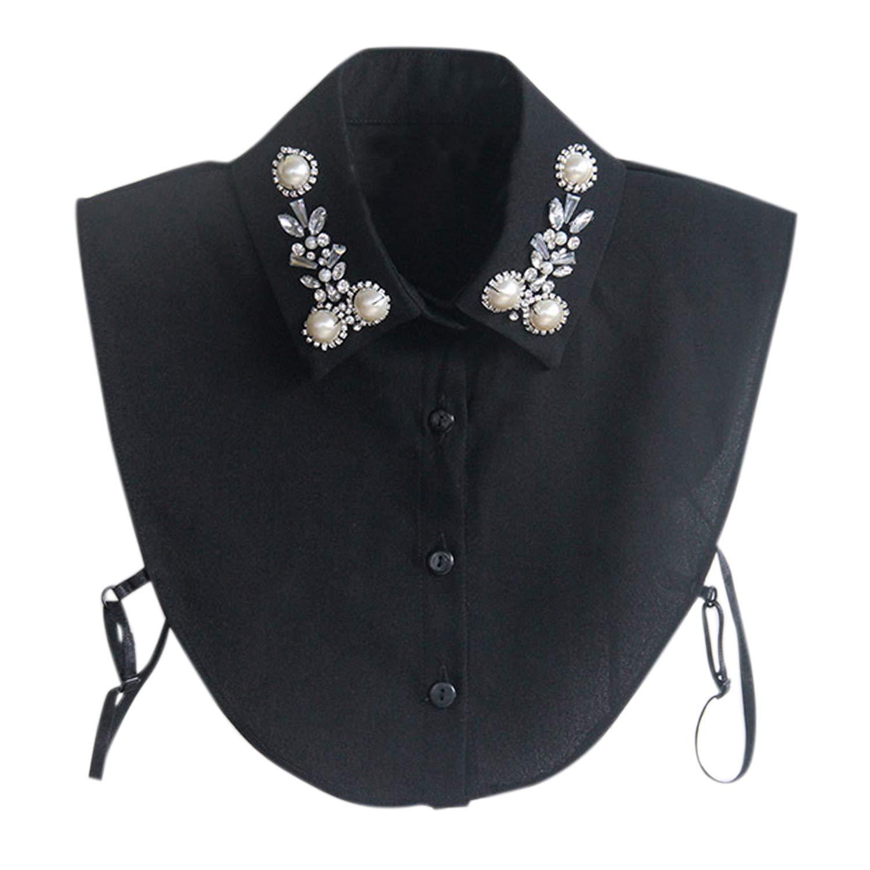 Jolisson Damen Abnehmbare Gefälschte Halb Revers Perle Vintage Schwarz Weiß Strass Hemdbluse Kragen mit Verstellbaren Bändern NHAB1713A-B-DE