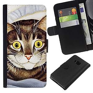 eJoy---La carpeta del tirón la caja de cuero de alta calidad de la PU Caso protector - HTC One M7 - --Cat Painting American Shorthair Happy