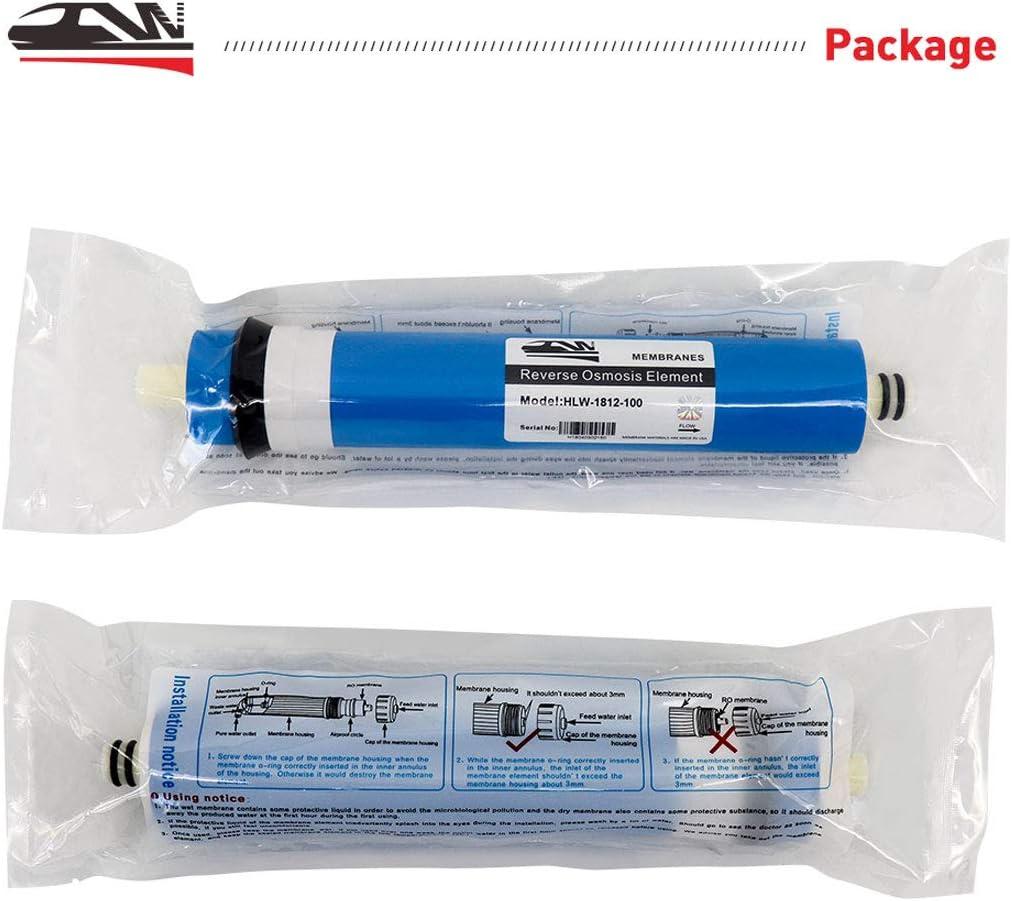 Hallowway 1812-100GPD Filtro de Repuesto Universal de Membrana de /ósmosis Inversa para Purificador de Agua Potable para el hogar paquete de 1 100 GPD