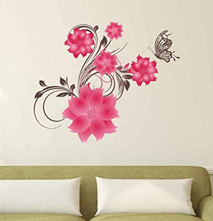 Decals Design 'Pink Flowers Leaves and a Butterfly for Nature Lovers' Wall Sticker (PVC Vinyl, 50 cm x 70 cm x 1 cm)