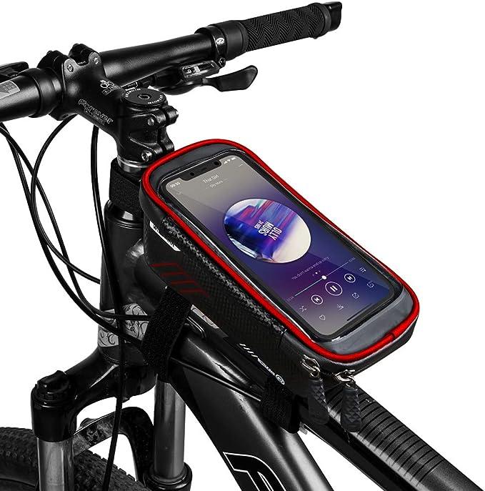 Copozz Wasserdicht Fahrrad Rahmentasche Handy Fahrradtasche Lenkertasche Oberrohrtasche Mountainbike Rahmen Tasche Handyhalterung Handytasche For Smartphone Iphone 6 5 Zoll Bekleidung
