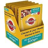 Pedigree Adult Wet Dog Food, Chicken & Liver Chunks in Gravy, 5 Pouches (5 x 80g)