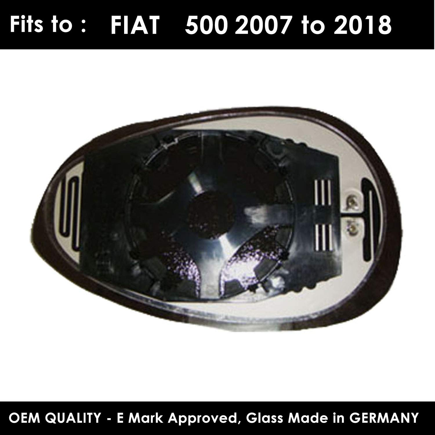 Passenger Side FI500 2007 to 2017 Heated Silver Door Mirror Glass Including Base Plate LH