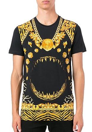 708344f42f9f Amazon.com  Versace Jeans Teeth Printed T-Shirt, Black W Gold (3XL ...