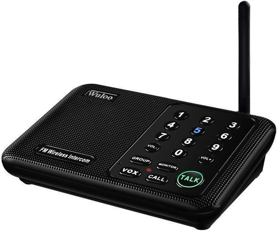Wuloo Intercoms Wireless for Home 5280 Feet Range 10 Channel 3 Code, Wireless Intercom System for Home House Business Office, Room to Room Intercom, Home Communication System (1 Pack, Black)
