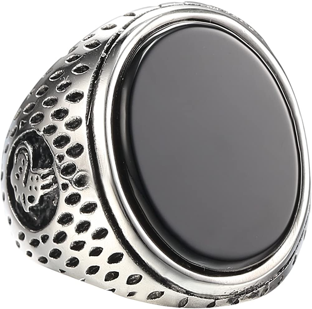 MOWEN Jewelry Mens Fashion Stainless Steel Black Agate Ring Band,Sizes 8-12