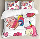 Our Wings Unicorn Cat Comforter Set,Cute Fantastic Icons Girls Magical Characters Mythological Mascots Bedding Duvet Cover Sets Boys Girls Bedroom,Zipper Closure,4 Piece,Pink Multicolor Twin Size