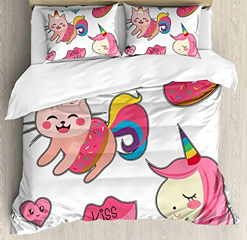 Our Wings Unicorn Cat Comforter Set,Cute Fantastic Icons Girls Magical Characters Mythological Mascots Bedding Duvet Cover Sets Boys Girls Bedroom,Zipper Closure,4 Piece,Pink Multicolor Twin Size by Our Wings