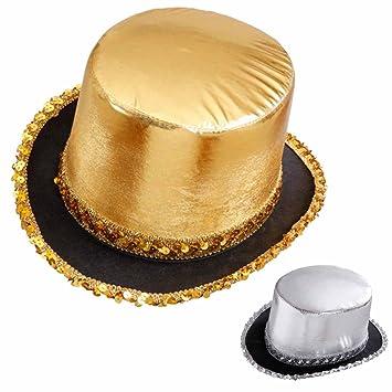 Amakando Zylinderhut Gold Pailletten Zylinder Hut Gold Disco