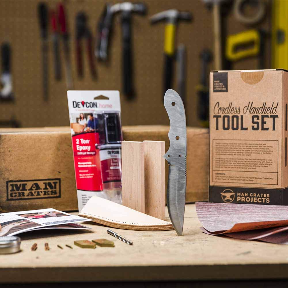 Man Crates Knife Making Kit - Awesome DIY Gift For Men - Includes Stainless-Steel Shawnee Skinner Blade, Maple Burl Handle, Brass Bolsters, Leather Sheath And Step-by-Step Knife Making Guide by Man Crates (Image #3)