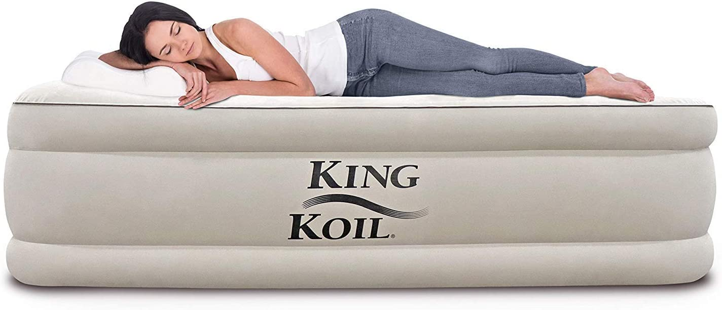King Koil California King Luxury Raised Air Mattress with Built-in 120V AC High Capacity Internal Pump Comfort Quilt Top King Airbed for Home Camping Travel 1-Year Manufacturer Guarantee