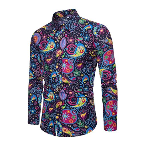 (Realdo Mens Print Shirt, Business Casual Long Sleeve Slim Fit Print Floral Top(Navy,XXXXX-Large))