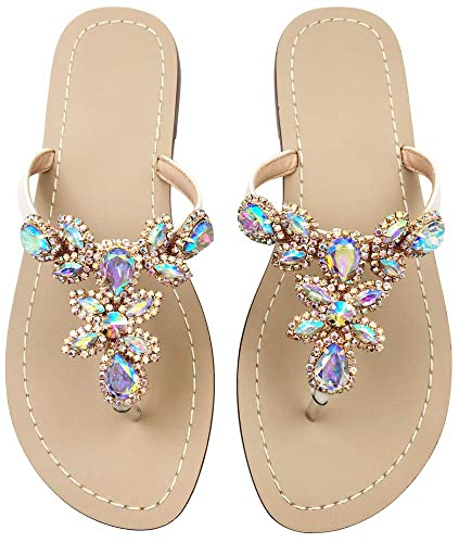 4880f4e71c2 Hinyyrin Beach Sandals for Women Ladies Thong Sandals Jeweled Gold Size 5.5