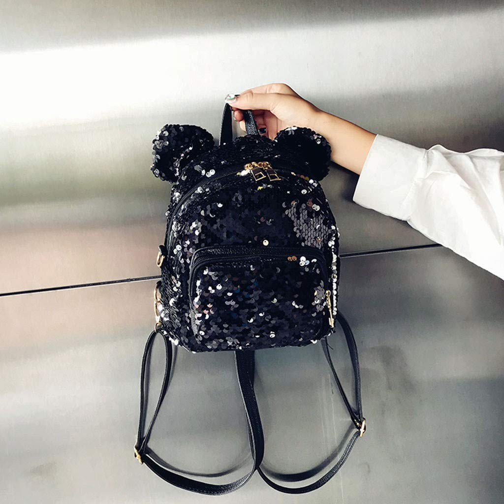 Dream Room Women Sequins Cartoon School Backpack Fashion Lady Satchel Girls Student Travel Shoulder Bag Black