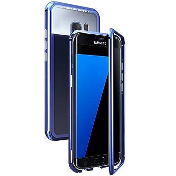 WindCase Galaxy S7 Funda, Anti-rasguño Metal Aluminio Bumper con Magnética + Transparente Vidrio Templado Rígida Cubierta Protectora Carcasa para ...