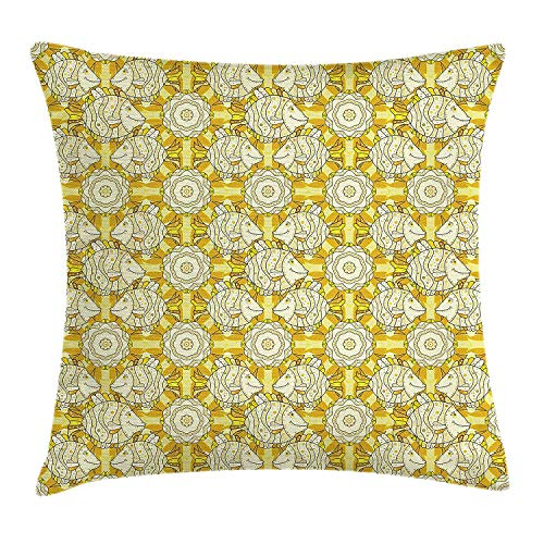 Queolszi Yellow and White Throw Pillow Cushion Cover, Aquarium Fishes with Stripes on Floral Composition Background, Decorative Square Accent Pillow Case, 18 X 18 inches, Marigold Beige Yellow