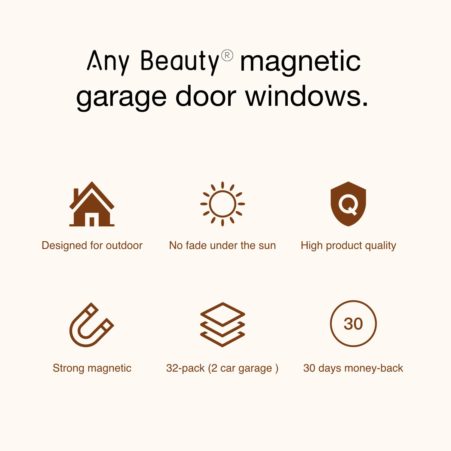 "Any Beauty 32-Pack Magnetic Garage Door Faux Windows(5 3/4"" x 3 3/4), Black, Fake Decorations Window Panels for Garage Doors, No-Fade, Weather-Resistant, PVC Small Panels (2 Car Garage Kits)"