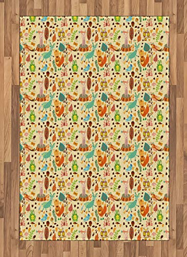 Lunarable Animals Area Rug, Cute Forest Creatures and Foot Print Squirrels Deer Nightingale Frog Rabbit Nursery, Flat Woven Accent Rug for Living Room Bedroom Dining Room, 4 x 5.7 FT, ()