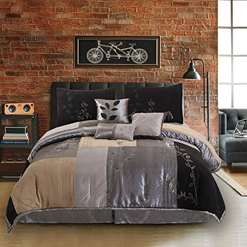 Hudson Suede Bedding - Hudson Street  Back To Nature Cal King Bed Set, Charcoal