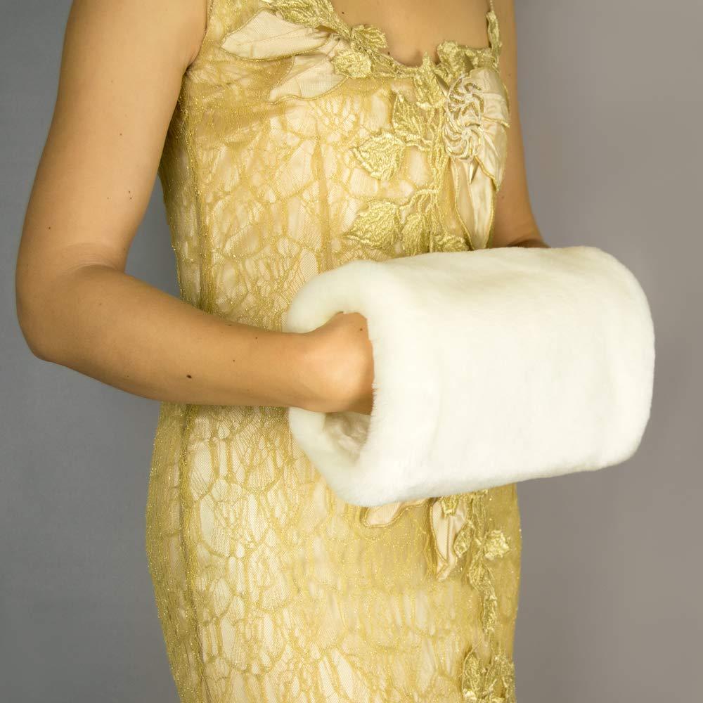 Manchon Fourrure Femme Mariage Robe de Soirée Mariée hand warmer arm warmer ivoire, blanc, noir