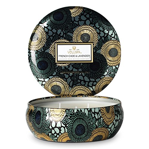 Voluspa French Cade & Lavender Limited JAPONICA 3 Wick Candle in Decorative Tin 12 oz