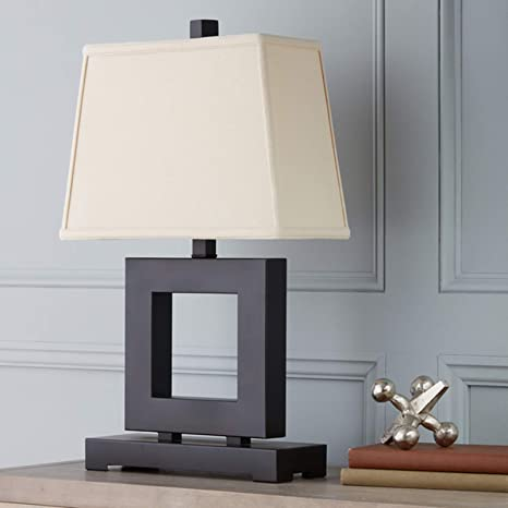 Contemporary Table Lamp Metal Square Base With Fabric Shade