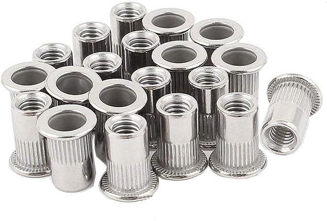 20 Pcs 304 Stainless Steel Flat Head Threaded Rivet Nut Inserts Nutsert Multi Sz